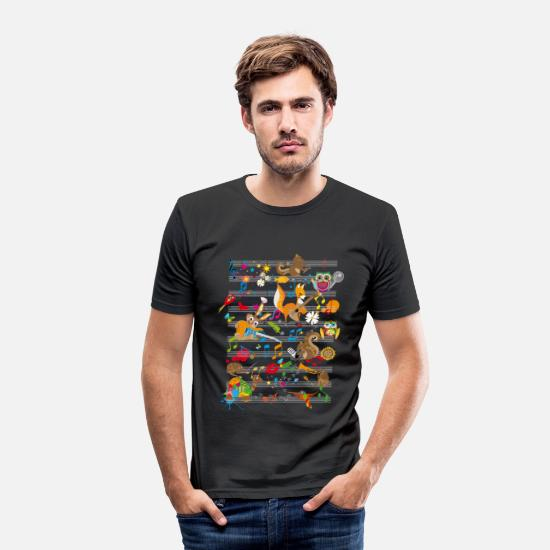 Music T-Shirts - Concert of Animals - Men's Slim Fit T-Shirt black