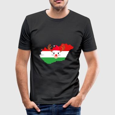 Hungary Christmas Hat Antler Red Nose Reindeer - Men's Slim Fit T-Shirt
