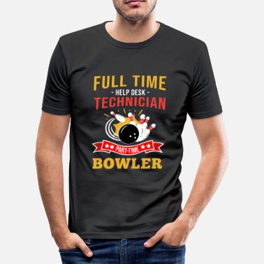 Help Desk Help Desk Technician Bowler Bowling Pin Strike - Men's Slim Fit T-Shirt