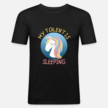 Pyjamas Rolig Unicorn somna - T-shirt slim fit herr 72a6e6a23c71a