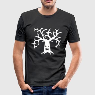 Tree Branch Tree trees branch branches face Halloween scary - Men's Slim Fit T-Shirt
