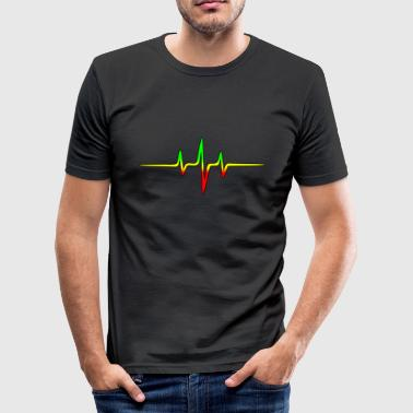 Reggae, music, notes, pulse, frequency, Rastafari - Men's Slim Fit T-Shirt