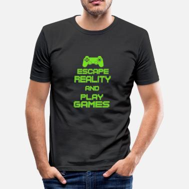 Beat Em Up Escape Reality and Play Games - Gaming Gamer Shirt - Men's Slim Fit T-Shirt