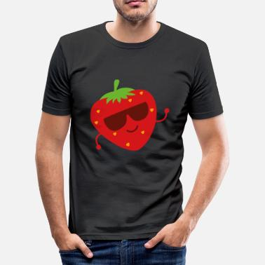 Grappige aardbeicartoon - slim fit T-shirt