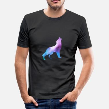 Bright Colors Wolf in bright colors - Men's Slim Fit T-Shirt