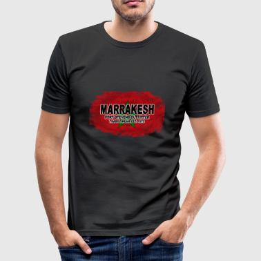 Marrakesh - Morocco Flag  - Vintage Look - Männer Slim Fit T-Shirt