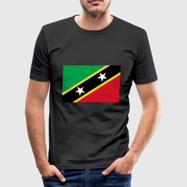 Saint Kitts og Nevis Flagg - Slim Fit T-skjorte for menn