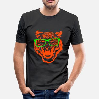 Glass Tiger Tiger head nerd glasses Internet 2c - Men's Slim Fit T-Shirt