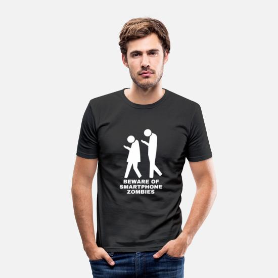 Addict T-Shirts - Beware of smartphone zombies mobile addict - Men's Slim Fit T-Shirt black