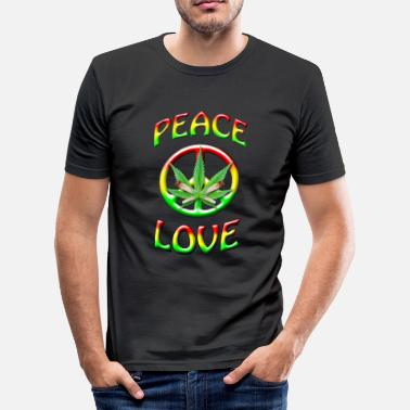 Peace-and-love-rasta Peace and Love - Men's Slim Fit T-Shirt