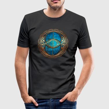Vesica Piscis, Chalice Well, Sacred Geometry space - Men's Slim Fit T-Shirt