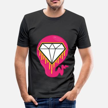 Grime Art DIAMOND HEART PRINT SHIRT - Men's Slim Fit T-Shirt