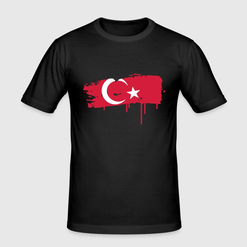 a Turkish flag as graffiti - Men's Slim Fit T-Shirt