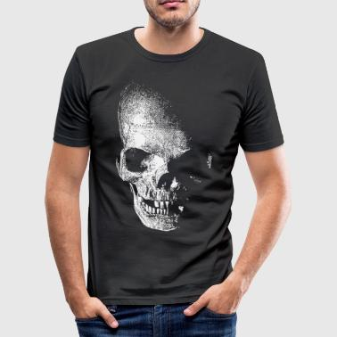 white skull - weißer totenkopf pirat - slim fit T-shirt