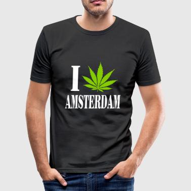 I love amsterdam - Slim Fit T-skjorte for menn