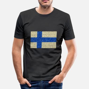 Suomen lippu Suomen lippu kotimaa värit - Miesten slim fit t-paita 048702c93e