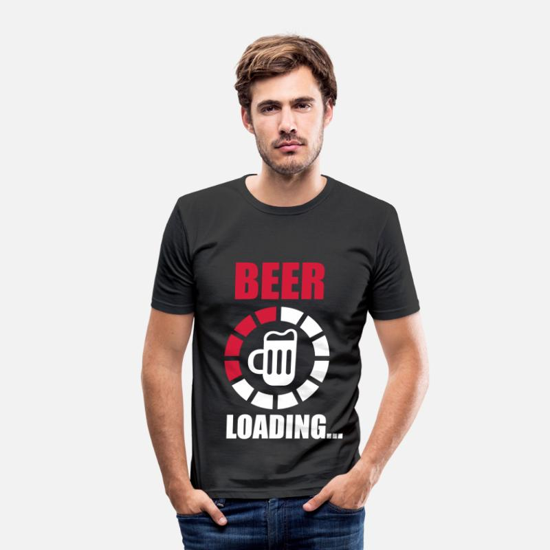 Citaten T-Shirts - beer loading - Mannen slim fit T-shirt zwart