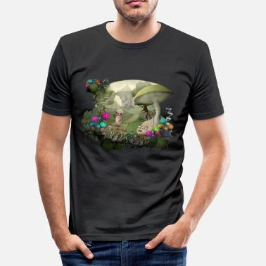 Psytrance Teddy and the shrooms - Männer Slim Fit T-Shirt