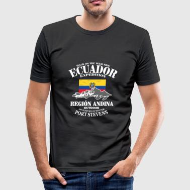 Ecuador - Flag & Mountains - Men's Slim Fit T-Shirt