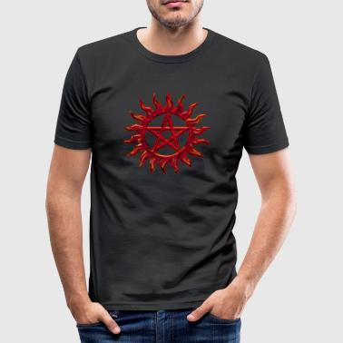 Pentagram - Blazing Star- Sign of intellectual omnipotence and autocracy. digital red, Star of the Magi , powerful symbol of protection - Männer Slim Fit T-Shirt