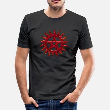 Kabbalah Jesus Pentagram - Blazing Star- Sign of intellectual omnipotence and autocracy. digital red, Star of the Magi , powerful symbol of protection - Männer Slim Fit T-Shirt