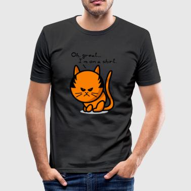 cat grumpy cat on shirt - Camiseta ajustada hombre