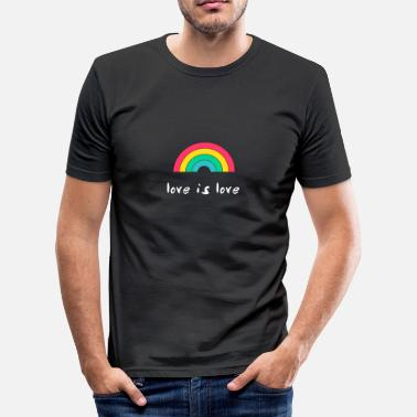 Gay Love love is love Rainbow gay Gay - Men's Slim Fit T-Shirt