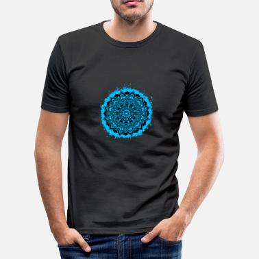 Breezy Mandala spiritual light blue and black outline - Men's Slim Fit T-Shirt