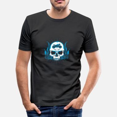 Motorcycle Flaming Skull MOTORCYCLE BIKER SKULL IN THE HEAD FLAME ROCKER HEAD - Men's Slim Fit T-Shirt