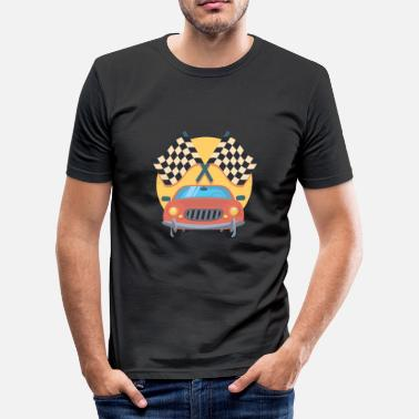 Rennstrecke Zielflagge dragster racer automotive car automobil rennwagen3 - Männer Slim Fit T-Shirt