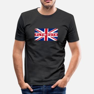Plymouth Plymouth Shirt Vintage United Kingdom Flag T-Shirt - Men's Slim Fit T-Shirt