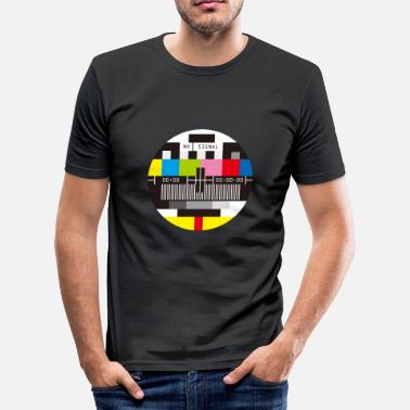 Tv Television Test Screen No Signal - T-shirt moulant Homme