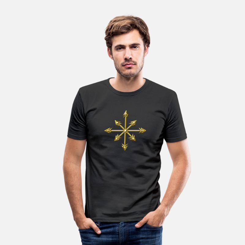Star T-Shirts - Chaos Star, Symbol of chaos, digital, everything has meaning and magic power! Power symbol, Energy symbol - Men's Slim Fit T-Shirt black