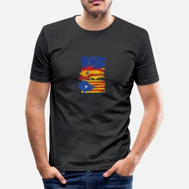 Catalonia Independence Flag Catalonia Spain Flag Europe Gift Peace - Men's Slim Fit T-Shirt