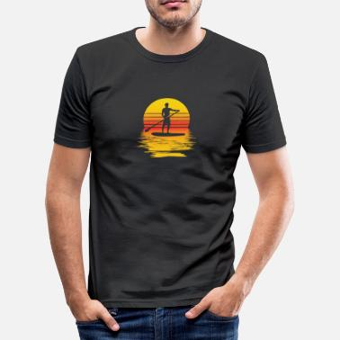 Paddle SUP Stand Up Paddle Board at sunset - Men's Slim Fit T-Shirt