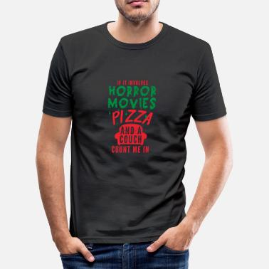 Horror Movies Pizza Horror Movie Fan Gift Festival de Cine Divertido - Camiseta ajustada hombre