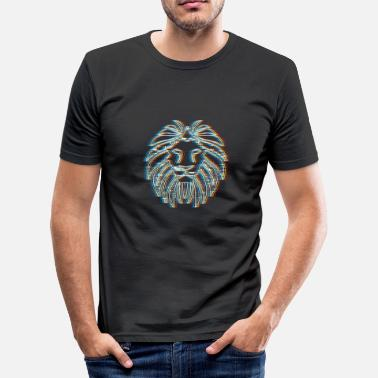 Psy Trance Psychedelic Lion Gift for Big Cat and Animal - Men's Slim Fit T-Shirt