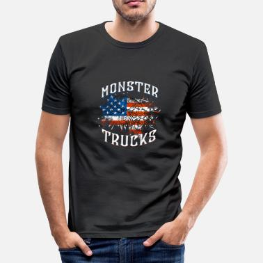 Flaggen Lustig Lustiges Monster Trucks mit Amerika Flagge - Männer Slim Fit T-Shirt