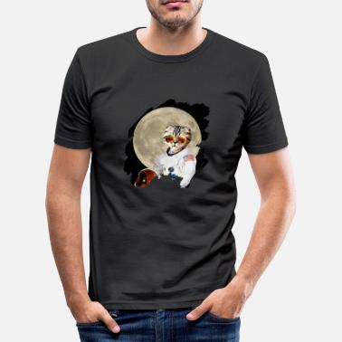 Galaxey Astronaut cat USA gift moon - Men's Slim Fit T-Shirt