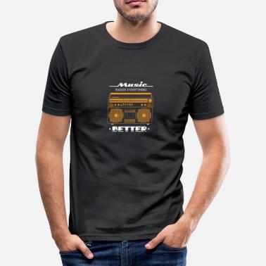 Ghetto Musik Musik Macht Alles Besser Retro Ghetto Blaster Rap - Männer Slim Fit T-Shirt