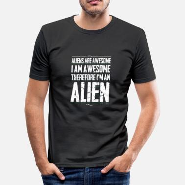 I Am Awesome Aliens Awesome I Am Awesome Funny Alien Humor - Maglietta aderente da uomo