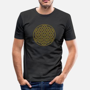 Melchizedek  Flower of Life - Vector - 02, 1c, sacred geometry, energy, symbol, powerful, healing, protection,  - Men's Slim Fit T-Shirt