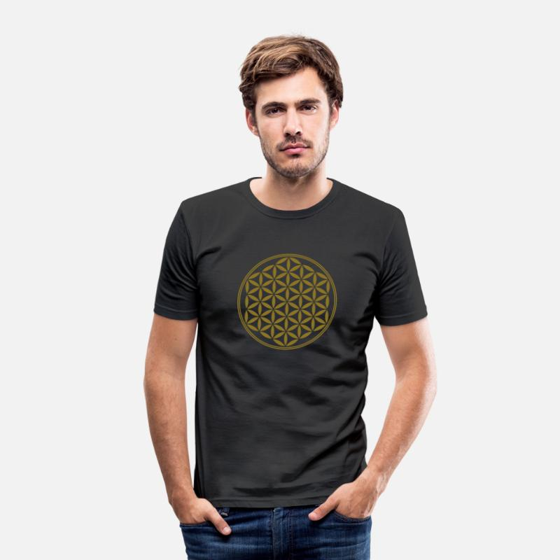 Flor De La Vida Camisetas - Vector - Flor de la vida - 02, 1c, sacred geometry, energy, symbol, powerful, healing, protection, cl - Camiseta slim fit hombre negro