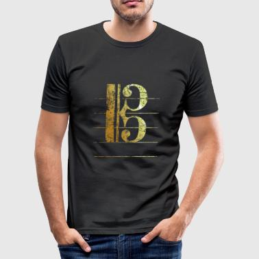 Tenor Clef (Ancient Gold) - Men's Slim Fit T-Shirt