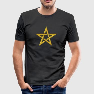Star of the Magi - Pentagram - Sign of intellectual omnipotence and autocracy. gold, Blazing Star, powerful symbol of protection - Obcisła koszulka męska