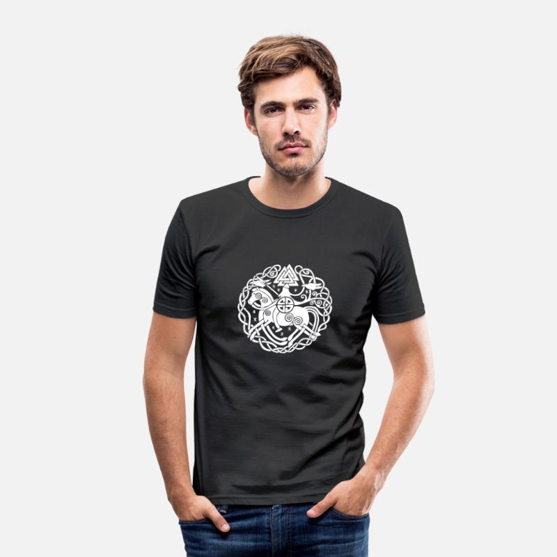 Odin T-Shirts - Odin auf Sleipnir mit Hugin und Munin, Allfather - Men's Slim Fit T-Shirt black
