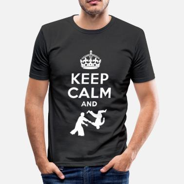 Keep Calm And Keep Calm and aikido - EN - Miesten slim fit t-paita