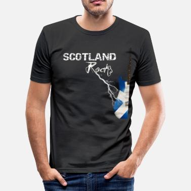 Scottish Lightning Guitar - Black - Men's Slim Fit T-Shirt