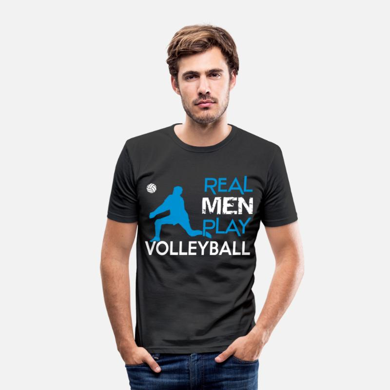 Volleyball T-Shirts - Real Men play Volleyball - Mannen slim fit T-shirt zwart