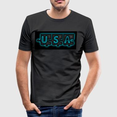 USA Puzzle - Men's Slim Fit T-Shirt
